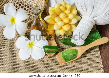 Alternative skin care and spa with aloe vera - stock photo
