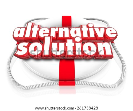 Alternative Solution words in red 3d letters on a white life preserver to illustrate a different idea, option or plan to save or rescue you or your business - stock photo
