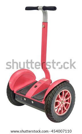 Alternative transport vehicle - electric gyro scooter balance motion drive - stock photo