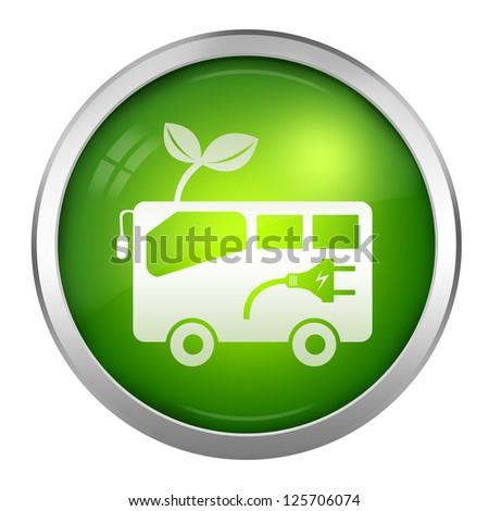 Alternative Transportation Technology Concept � Hybrid Bus Icons Isolate on White Background - stock photo