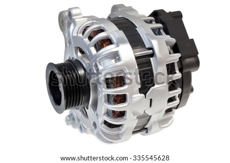 Alternator. Image of car alternator isolated on white. Clipping path included. - stock photo