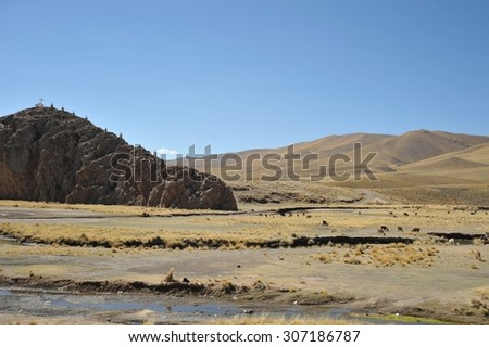 ALTIPLANO, BOLIVIA - SEPTEMBER 10, 2010: Altiplano is a vast plateau in the Andes mountains. Is the Western lower part of the interior plateau of the Central Andes. Valley Kala-Kala the city of Oruro.