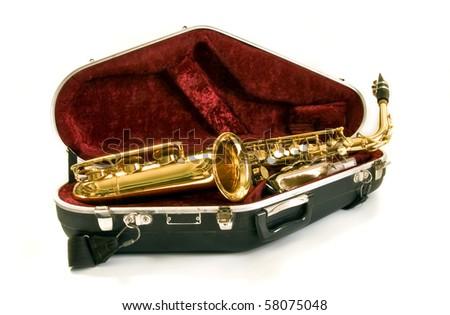 alto sax in the case on white background - stock photo