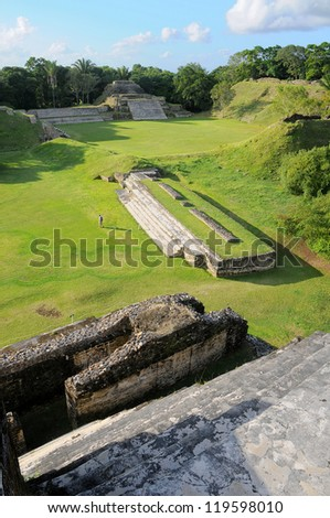 Altun Ha, ruins of an ancient Maya city in Belize - stock photo