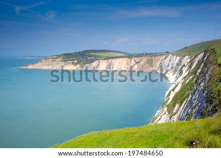 Alum Bay Isle of Wight next to the Needles tourist attraction - stock photo