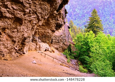 Alum Cave in the Great Smoky Mountains National Forest. - stock photo