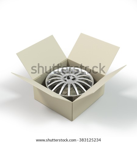 Aluminium Alloy rim in a cardboard box. - stock photo