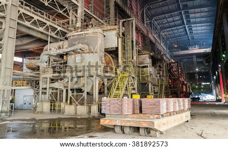 Aluminium and steel molds and cats on a platform in a smelter, foundry factory AURUBIS, Pirdop, Bulgaria, November 05, 2015