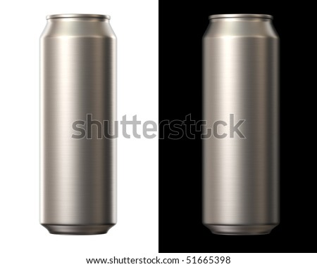aluminium beer can isolated on white and black background - stock photo