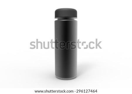 Aluminium black sports water drink bottle with black cup - stock photo