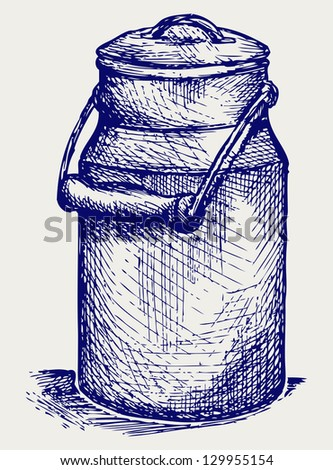 Aluminium can. Doodle style. Raster version - stock photo