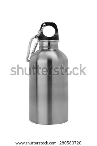 Aluminium canteen isolated on white background. Path included