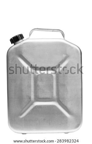 Aluminium cistren for benzin isolated on white - stock photo