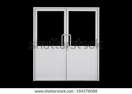 Aluminium door with isolated background. - stock photo