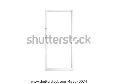 Aluminium door with isolated on white background
