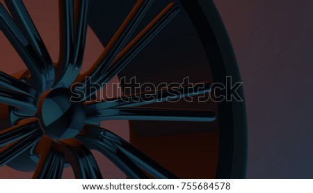 Aluminium on shadow and light rim of luxury car wheel. Various material and background, 3D render