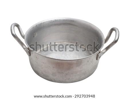 Aluminium pot isolated, clipping path. - stock photo