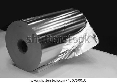 Aluminium rolled products or aluminium coil, conductor raw material - stock photo