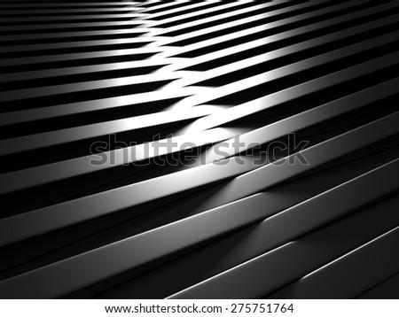 Aluminum Abstract Dark Metallic Shiny Background. 3d Render Illustration - stock photo