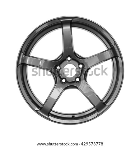 Aluminum alloy dark silver car rim on a white background