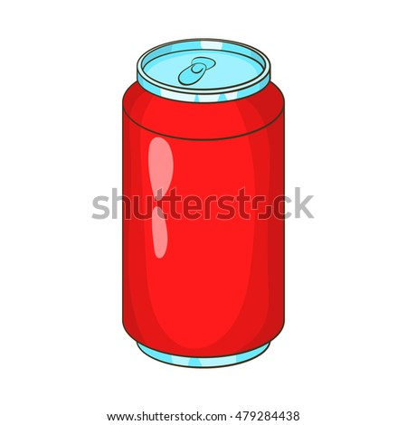 Aluminum beverage bank icon in cartoon style isolated on white background