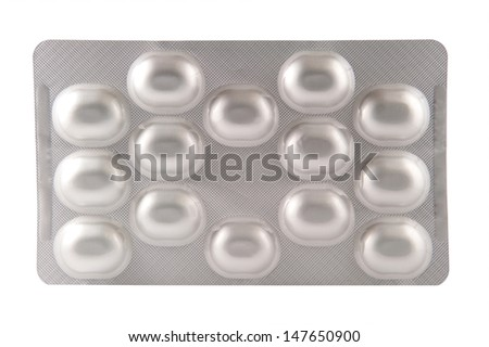 Aluminum blister pack on white background