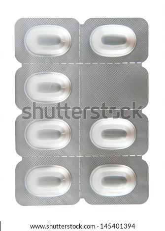 Aluminum blister pack show medicine background - stock photo