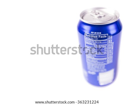 Aluminum blue can of soft drink close-up isolated on white background - stock photo