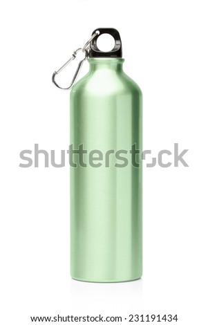 Aluminum bottle water isolated white background - stock photo