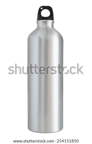 Aluminum bottle water isolated white background with clipping path - stock photo