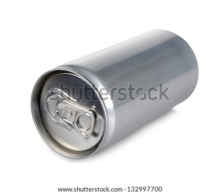 Aluminum can, blank and isolated - stock photo