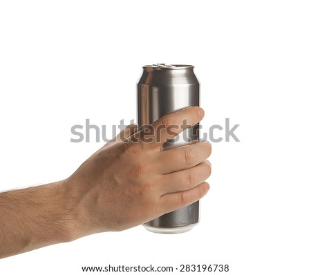 Aluminum can in hand isolated on a white background - stock photo