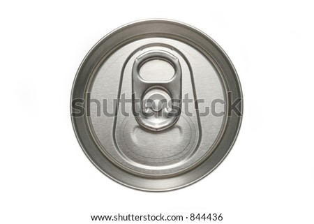 aluminum can macro from the top, isolated over white