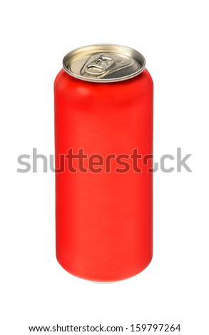 Aluminum can of red color. Isolated on white background.