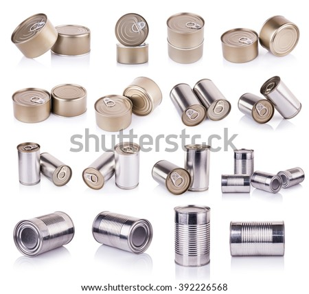 Aluminum can on white background - stock photo