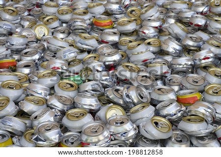 aluminum can recycling landscape close view - stock photo