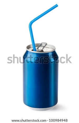 Aluminum can with the ring pull and straw. Isolated on a white. - stock photo