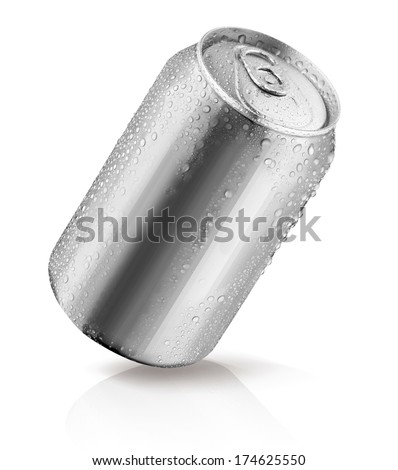 Aluminum can with water drops isolated - stock photo