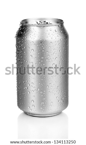 aluminum can with water drops isolated on white - stock photo