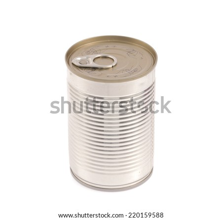 Aluminum,canned food isolated on white background
