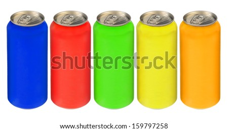 Aluminum cans different color. Isolated on white background. - stock photo
