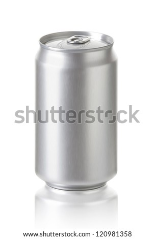 aluminum cans isolated on white background, Blank soda or beer can with copy space, Realistic photo image - stock photo