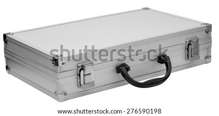 aluminum case for tools isolated on white background - stock photo