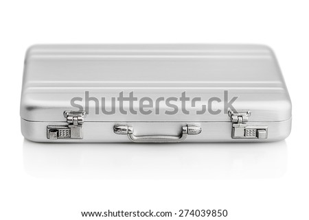 Aluminum case small isolated on a white background. Focus on the handle of the case - stock photo