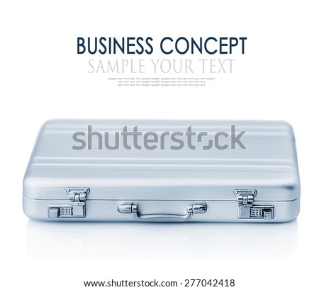 Aluminum case small isolated on a white background. Focus on the handle of the case. for example, and the text is removed. Toned image - stock photo