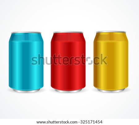 Aluminum Colorful Cans Template Isolated on White Background. illustration