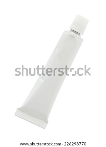Aluminum cream tube (with clipping path) isolated on white background - stock photo