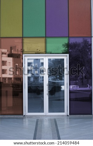 Aluminum door with stained glass panels