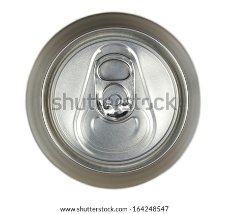 Aluminum drink can, top view isolated on white background