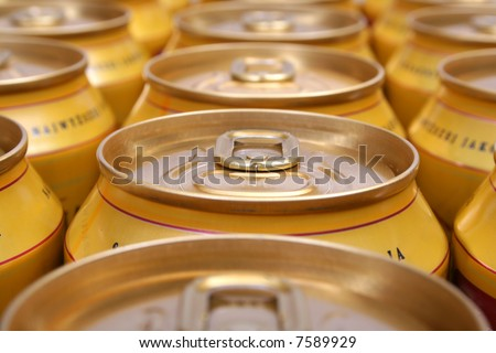 aluminum drink cans piled - stock photo